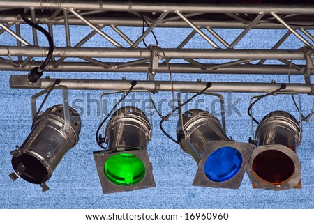 Fragments of stage illumination (Zurich Open Air 2008) - stock photo