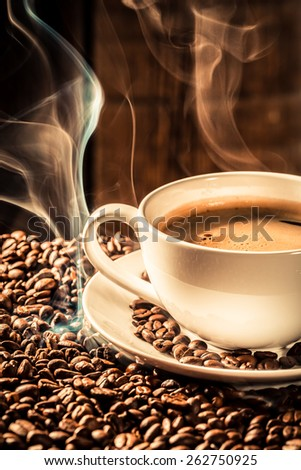 Fragrance cup of coffee with roasted grains
