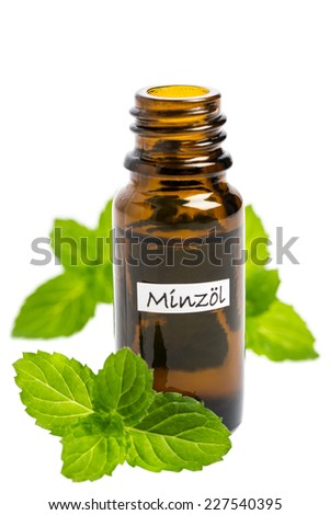 Fragrance oil of mint isolated on white background