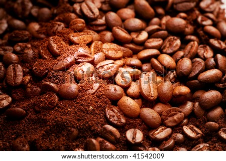 fragrant fried coffee beans close-up