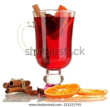 Fragrant mulled wine in glass isolated on white - stock photo