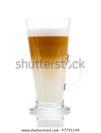 Fragrant ?offee latte in glass cup isolated on white - stock photo