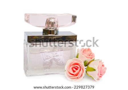 fragrant perfume with flowers - stock photo
