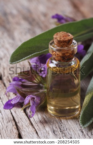 fragrant sage tincture in glass bottle on the table macro. vertical 