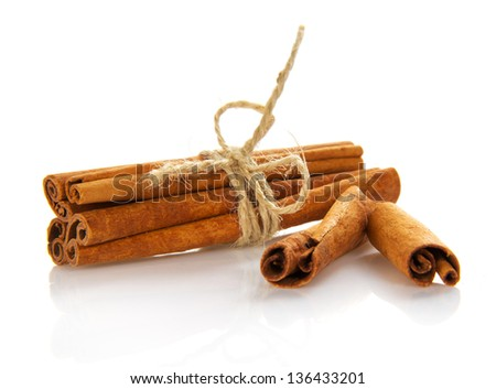 Fragrant, spicy cinnamon isolated on the white - stock photo