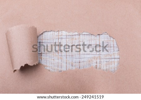 Frame and background for words and writing. In the torn paper. - stock photo