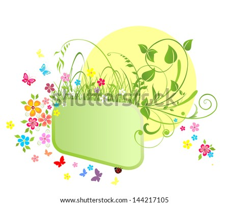 Frame and flowers. Raster copy of vector image - stock photo