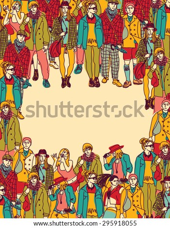 Frame big group fashion people card. Happy people standing in frame. Color  illustration. - stock photo