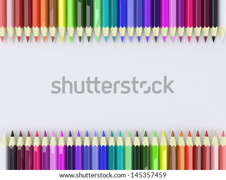 Frame by Colorful Pencils on white background