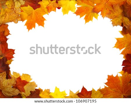 Frame composed of colorful autumn leaves - stock photo