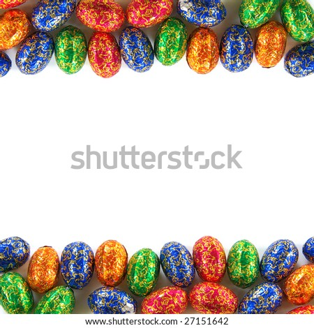 Frame composition of many Easter chocolate eggs isolated in white