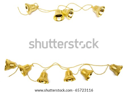 frame consists of golden bells on white background