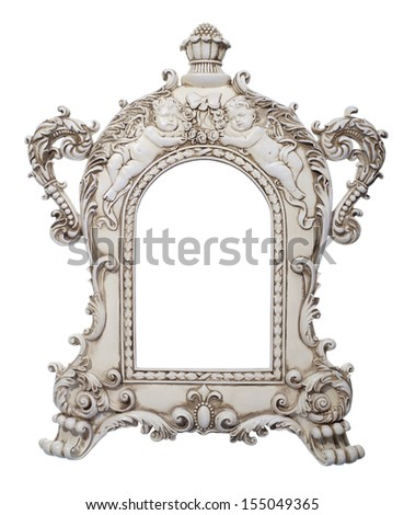 Frame - decorated frame with angels and flowers - stock photo