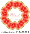Frame design of the pieces of watermelon - stock photo