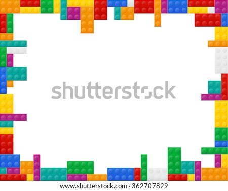 frame elements a plan view of the colored plastic constructor illustration isolated on white background - stock photo