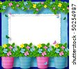 frame for greeting or congratulation with garland of flower - stock photo