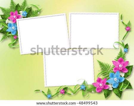Frame for photo with blue and pink orchids