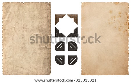 Frame for photos and pictures. Used paper and photo corner isolated on white background. Vintage cardboard - stock photo