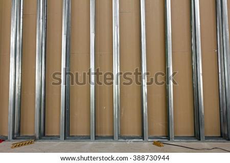 Frame Plasterboard Gypsum Wall Under Construction Stock Photo ...