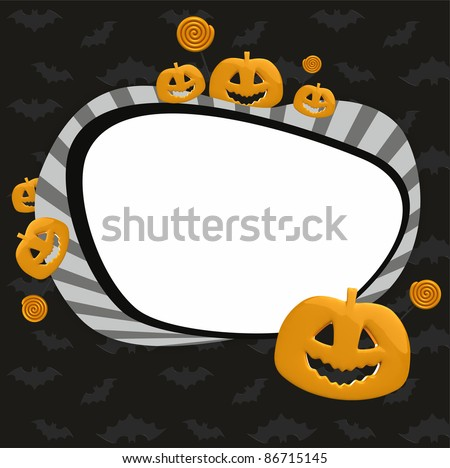 frame for scrap booking for Halloween - stock photo