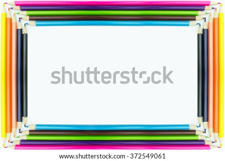 Frame form multicolored pencils isolated on white background. - stock photo