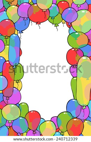 Frame from balloons cartoon background raster version - stock photo