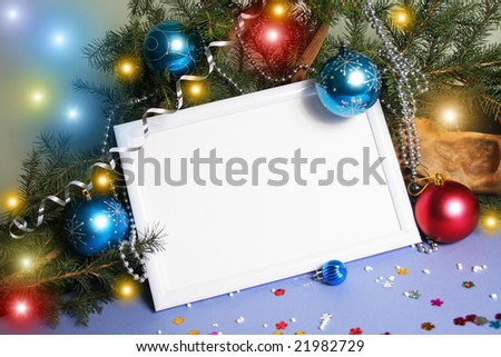 Frame from Christmas ornaments. Isolation on blue - stock photo