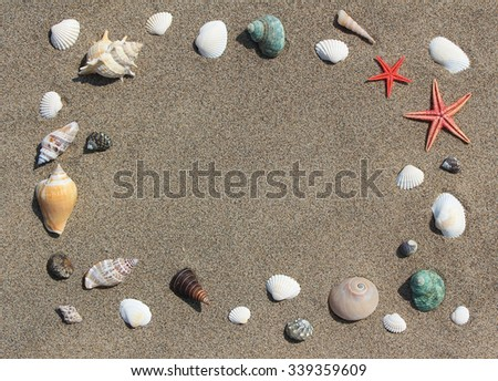 Frame from cockleshells on sand - stock photo