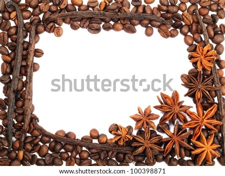Frame from coffee beans , anise and vanilla on  a white background