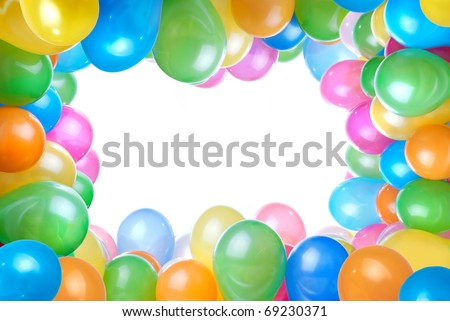 frame from color balloons isolated on white - stock photo