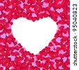 Frame from color paper hearts on a white background. - stock photo