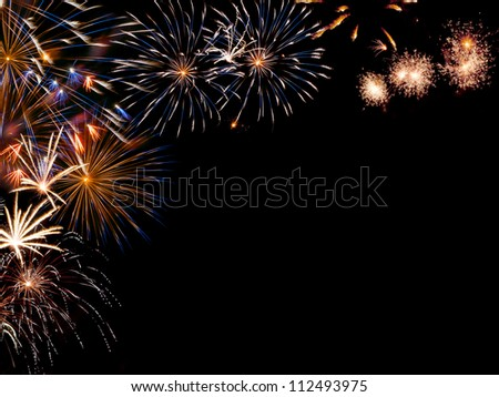 Frame from colorful holiday fireworks with place for your text, for design - stock photo