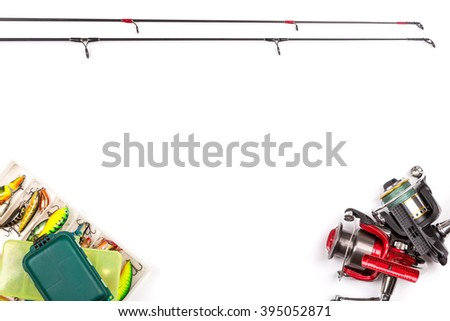 frame from different fishing tackles. Concept design for freshwater outdoor active business company. - stock photo