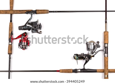 frame from fishing rods and reels. Concept design for freshwater outdoor active business company.