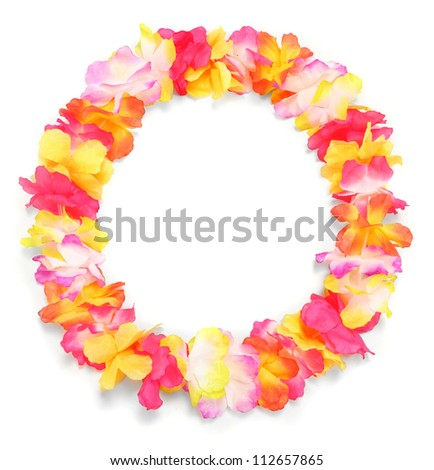 Frame from flowers necklace. Traditional Hawaiian decoration. - stock photo
