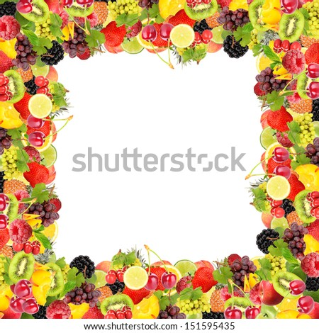 Frame from fruit and berries isolated on white - stock photo