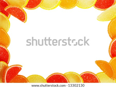Frame from fruit candy - stock photo