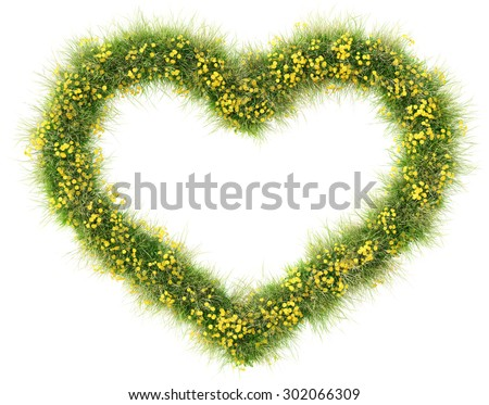 Frame from green grass and flowers in the shape of a heart. isolated on white background. - stock photo