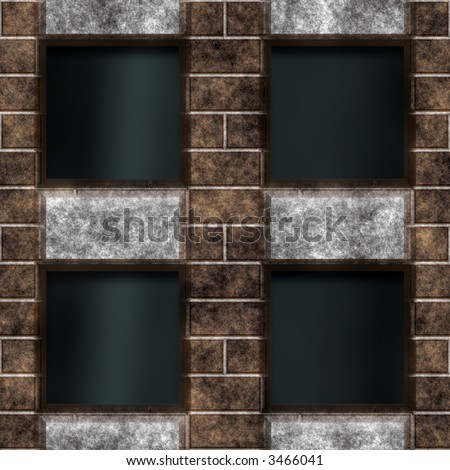 Frame from old bricks forming dark windows - stock photo