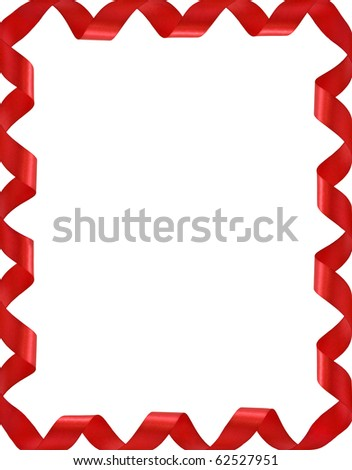 Frame from red ribbons isolated on white - stock photo