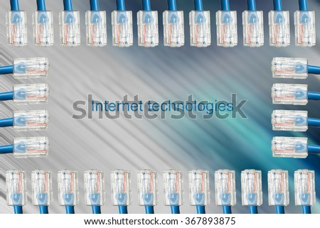 Frame from the blue Internet cables on dynamic turquoise background - stock photo