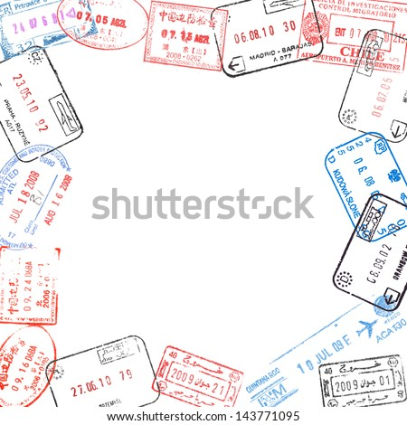 frame from various passport visa stamps - stock photo