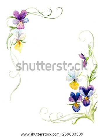 Frame from violets. Wedding drawings. Water color painting. Greeting cards. Violets background, watercolor composition. Flower backdrop.  - stock photo