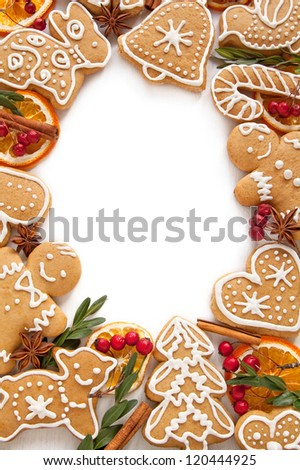 Frame Gingerbread cookies on the white background - stock photo