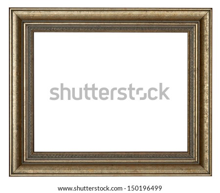 Frame - gold picture frame - stock photo