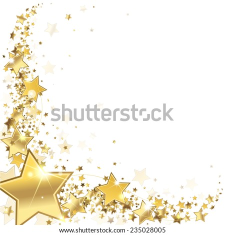 frame gold stars on a white background - stock photo