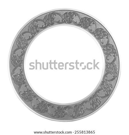 Frame gray circle on isolated white background. - stock photo