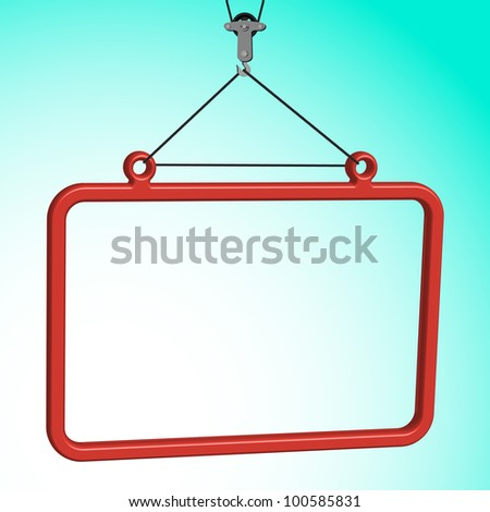 frame hanged on crane hook, abstract art illustration - stock photo
