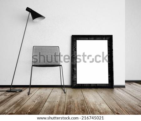 Frame in loft room - stock photo