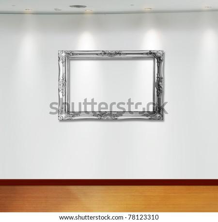 Frame in white room - stock photo
